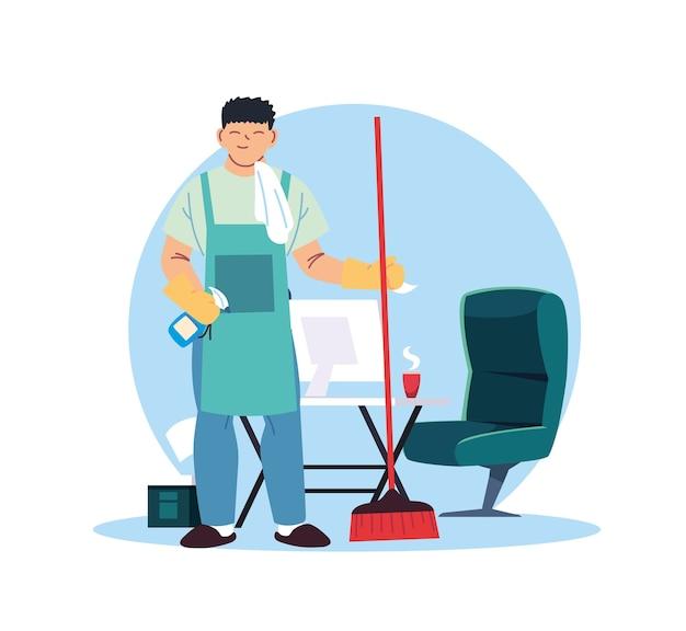Jeune homme travaillant dans le service de nettoyage à la conception d'illustration de bureau à domicile