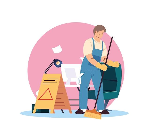 Jeune homme travaillant dans le service de nettoyage desing illustration express
