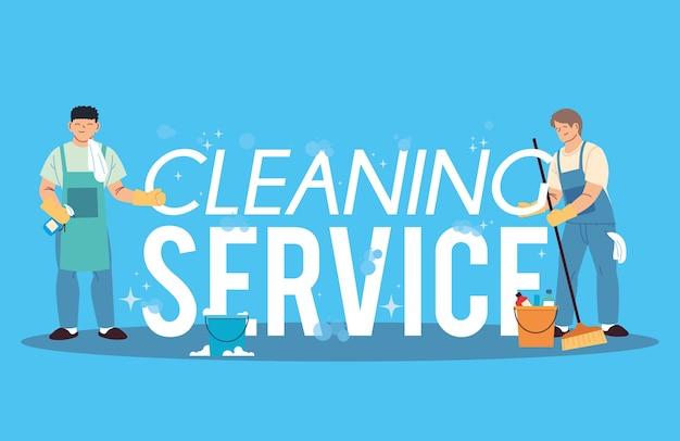 Jeune homme travaillant dans le service de nettoyage desing illustration technique