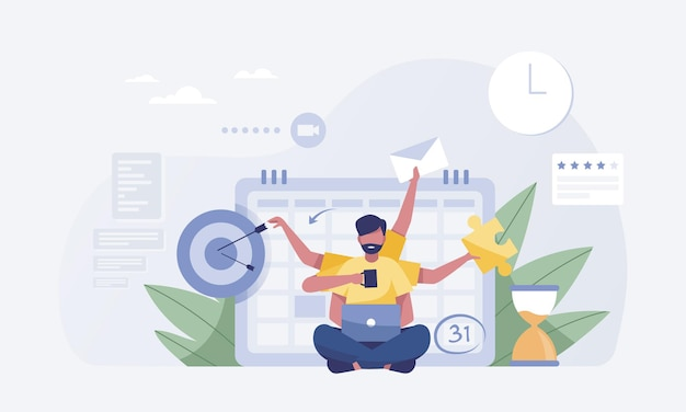Jeune homme travaillant dur avec six bras avec fond de calendrier. illustration vectorielle