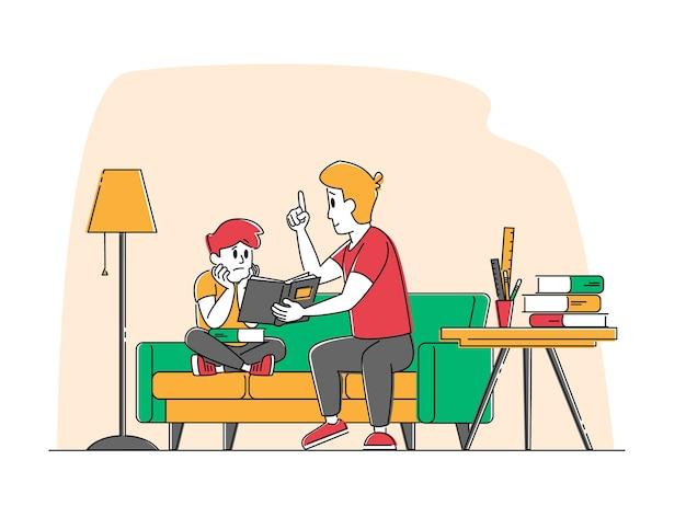 Jeune homme tuteur ou père et petit écolier