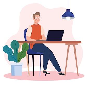 Jeune homme utilisant un ordinateur portable au bureau, travaillant en ligne illustration