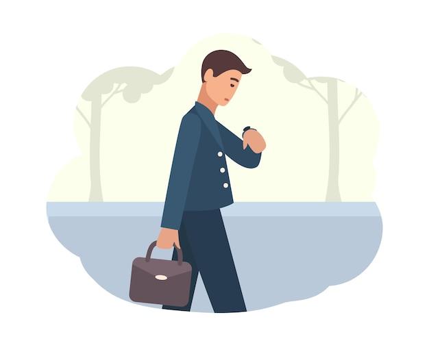 Jeune homme va travailler le matin. personnage masculin marchant dans la rue et regardant la montre-bracelet. personne occupée ou employé de bureau