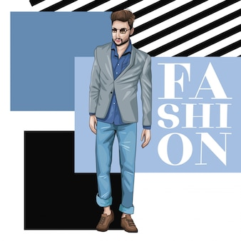 Jeune homme avec des vêtements de mode