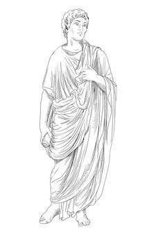Un jeune homme vêtu d'une tunique grecque antique avec un rouleau de papyrus à la main lit un poème et des gestes.