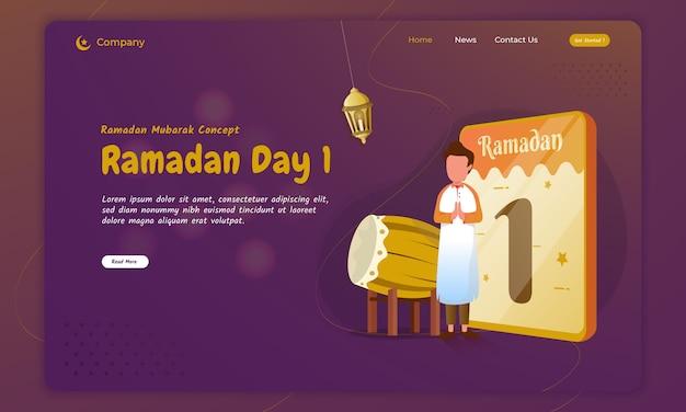 Le jeûne de l'illustration du premier jour pour le concept de salutations du ramadan sur la page de destination