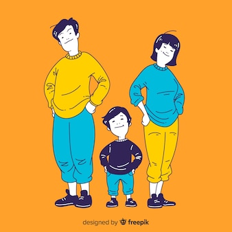 Jeune illustration de famille dans un style de dessin coréen