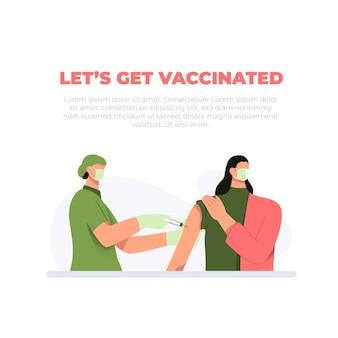 Une jeune infirmière injectant le vaccin antiviral covid19 ou antigrippal à une patiente