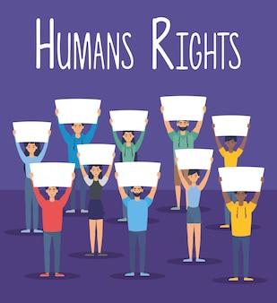 Jeune, interracial, gens, à, droits humains, étiquette, vecteur, illustration, conception