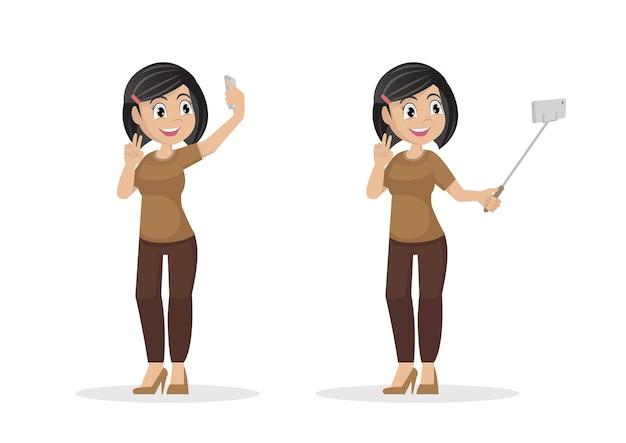 Jeune jolie femme prenant selfie.