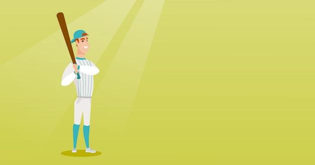 Jeune joueur de baseball caucasien avec une batte.
