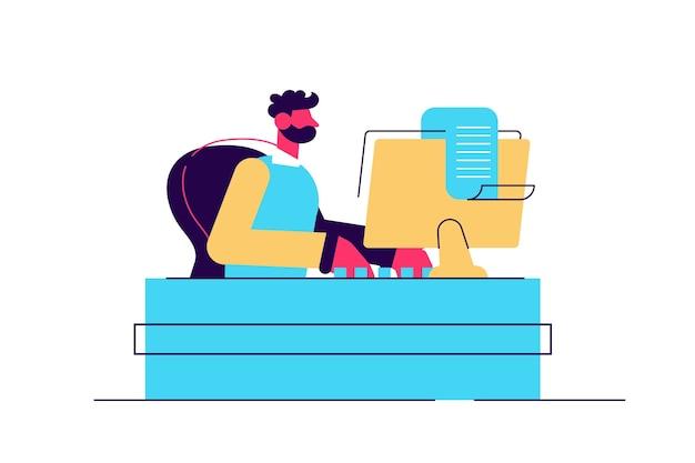 Jeune journaliste caucasienne écrivant un article sur une machine à écrire vintage.