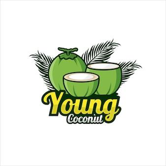 Jeune logo premium de conception de noix de coco