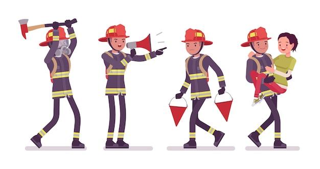 Jeune, mâle, pompier, au travail