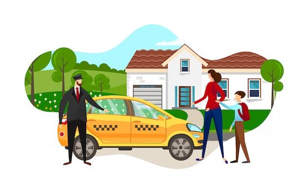 Jeune maman avec son fils d'écolier a commandé une voiture de taxi.