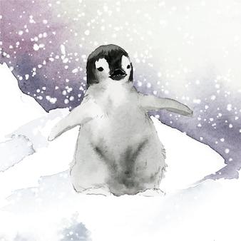 Jeune manchot empereur dans le vecteur aquarelle neige