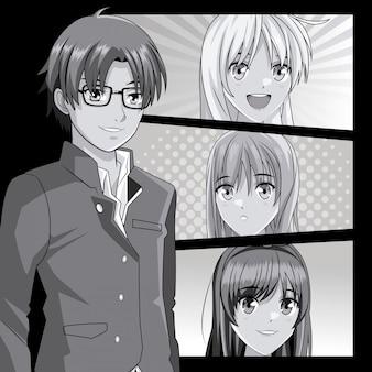 Jeune manga face à des dessins animés