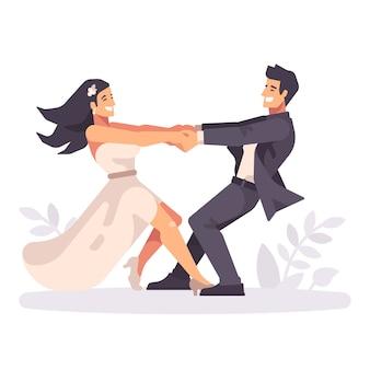Jeune, mariage, couple, tourner mains