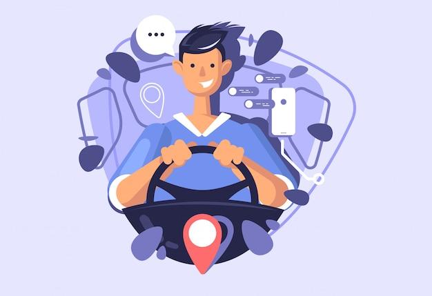 Un jeune mec conduisant une voiture. illustration du concept d'un service d'autopartage ou de taxi.