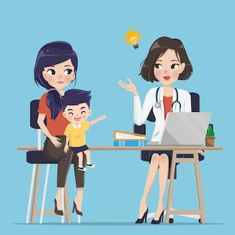 Le jeune médecin donne des conseils sur les enfants. pour les soins maternels et infantiles.