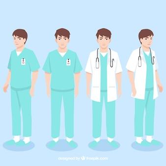 Jeune médecin avec des tenues différentes