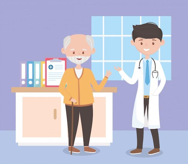 Jeune médecin et vieil homme dans la chambre hôpital, médecins et personnes âgées