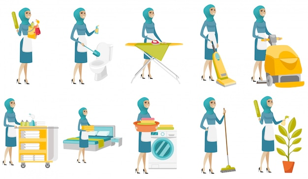 Jeune nettoyant musulman