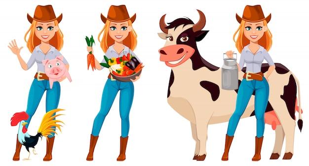 Jeune paysanne femme au chapeau de cowboy