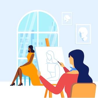 Jeune peintre dessin modèle illustration vectorielle