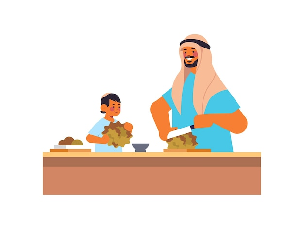 Jeune père arabe et petit fils préparation salade de légumes sains concept de paternité parentalité papa passer du temps avec son enfant portrait illustration vectorielle