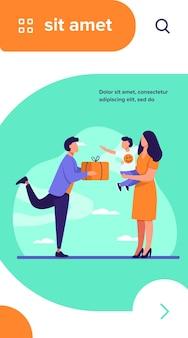 Jeune père donnant un cadeau à sa femme avec enfant. cadeau, boîte, illustration vectorielle plane garçon