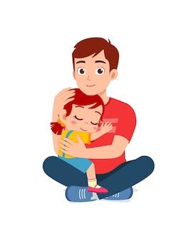 Jeune père heureux étreinte mignonne petite fille
