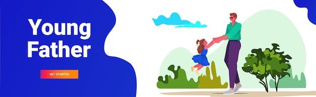 Jeune père jouant avec la petite fille père concept de paternité parentale passer du temps avec son enfant illustration vectorielle horizontale de copie de pleine longueur espace