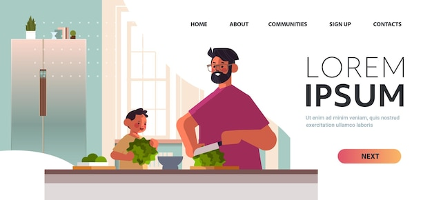 Jeune père et petit fils préparation salade de légumes sains à la maison cuisine parentalité paternité concept portrait horizontal copie espace illustration vectorielle