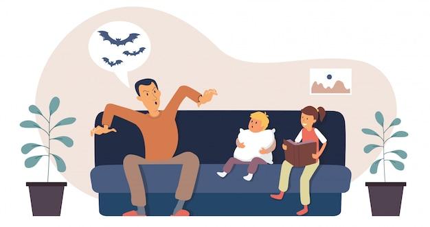 Un jeune père raconte une histoire effrayante aux enfants