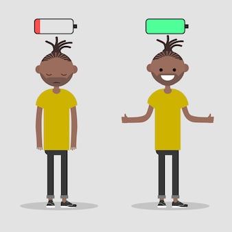 Jeune personnage dans deux versions fatigué et actif avec l'icône de la batterie