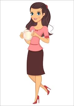 Jeune personnage de dessin animé féminin tenant une théière