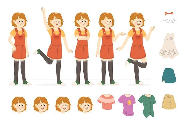 Jeune personnage faisant des poses différentes