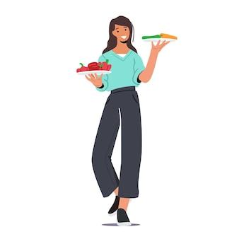 Jeune personnage féminin tenant des assiettes avec des légumes. pique-nique barbecue, nourriture végétalienne, mode de vie sain et nutrition biologique, femme choisissez des produits enrichis naturels frais. illustration vectorielle de dessin animé
