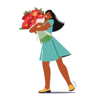 Jeune personnage féminin tenant le bouquet de belles fleurs dans les mains. fille ayant des rencontres, jolie femme embarrassée en robe embrassant le bouquet de fleurs. relation amoureuse, cadeau. illustration vectorielle de dessin animé