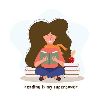 Jeune personnage de femme lisant avec des livres et une tasse de café. illustration de l'éducation