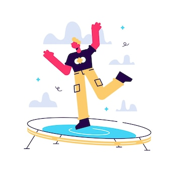 Jeune personnage masculin excité sautant sur un trampoline et exprimant des émotions positives en s'amusant bonne ambiance