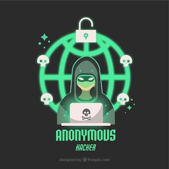 Jeune pirate anonyme au design plat