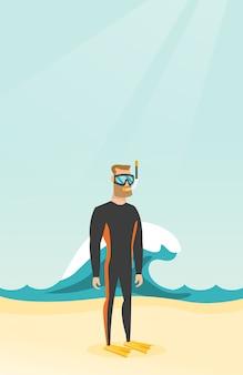 Jeune plongeur caucasien en scaphandre.