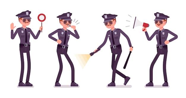 Jeune policier avec bannière de lumière et de signaux