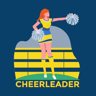 Jeune pom-pom girl en costume jaune et bleu avec des pompons sur le fond du stade illustration premium
