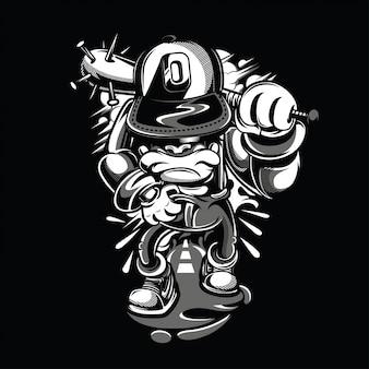 Jeune rebelle illustration noir et blanc