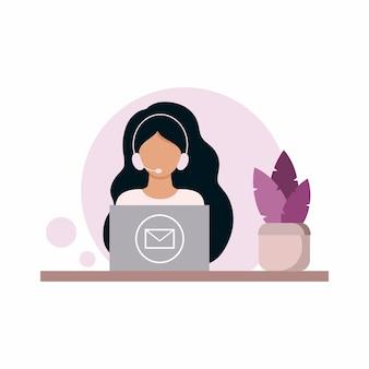 Un jeune répartiteur d'un service d'assistance technique, d'un centre de service ou d'un centre d'appels est assis devant un ordinateur et répond aux questions des clients. illustration pour les affaires bancaires. dessin vectoriel dans un style plat.