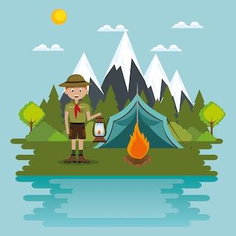 Jeune scout sur la scène du camping