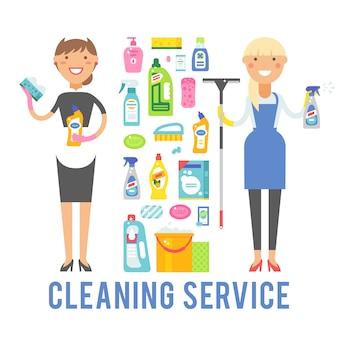 Jeune service de femme de ménage souriant isolé sur fond blanc.